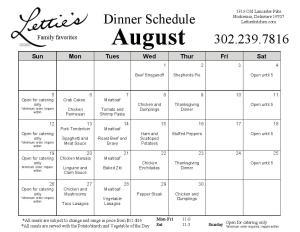 August 2018 Dinner Menu