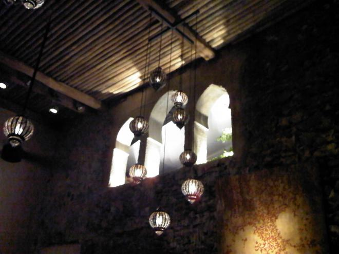 Moroccan windows and lamps at Salama...