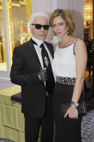 Karl Lagerfeld and Anna Mouglalis at the Biennale Gala...