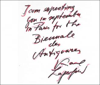 Karl Lagergeld's invitation card to the Biennale des Antiquaires...