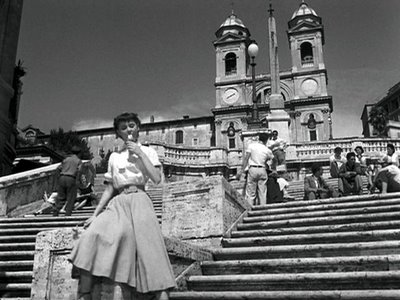 "Audrey Hepburn on the Spanish Steps in a ""Roman Holiday""..."