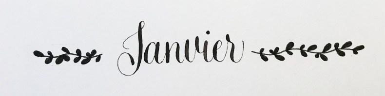Calligraphie simple et feuillages