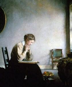 Girl reading - Edmund C. Tarbell, 1909 (Museum of Fine Arts Boston) By E Tarbell | Wikimedia Commons