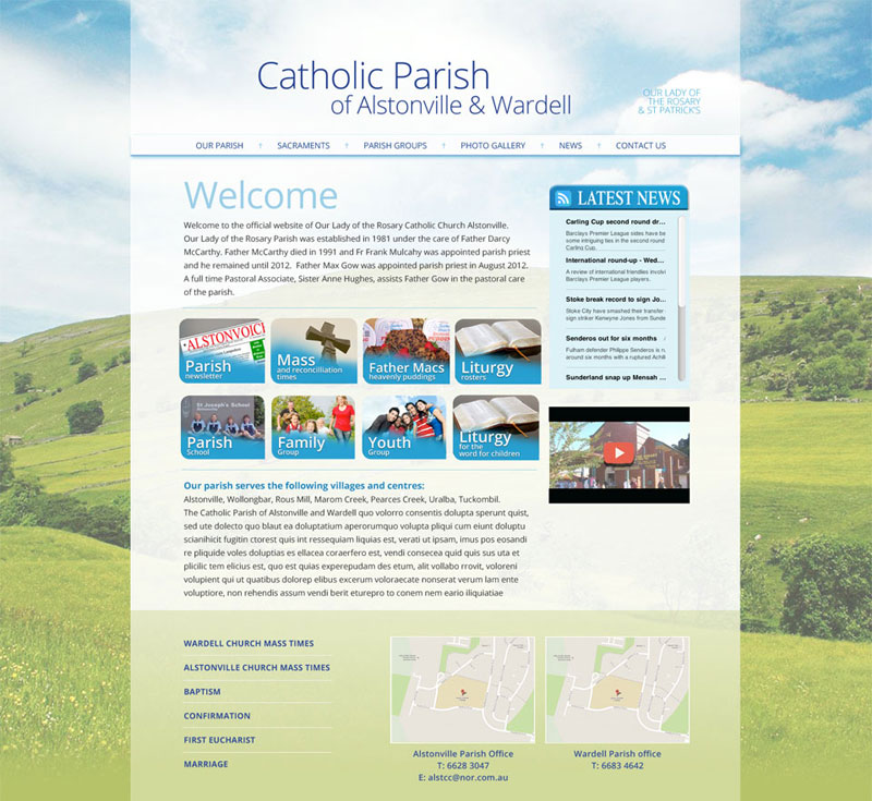 Alstonville Catholic Parish original website design
