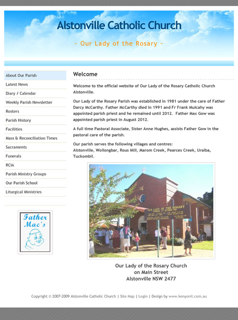 Alstonville Catholic Parish website circa 2012