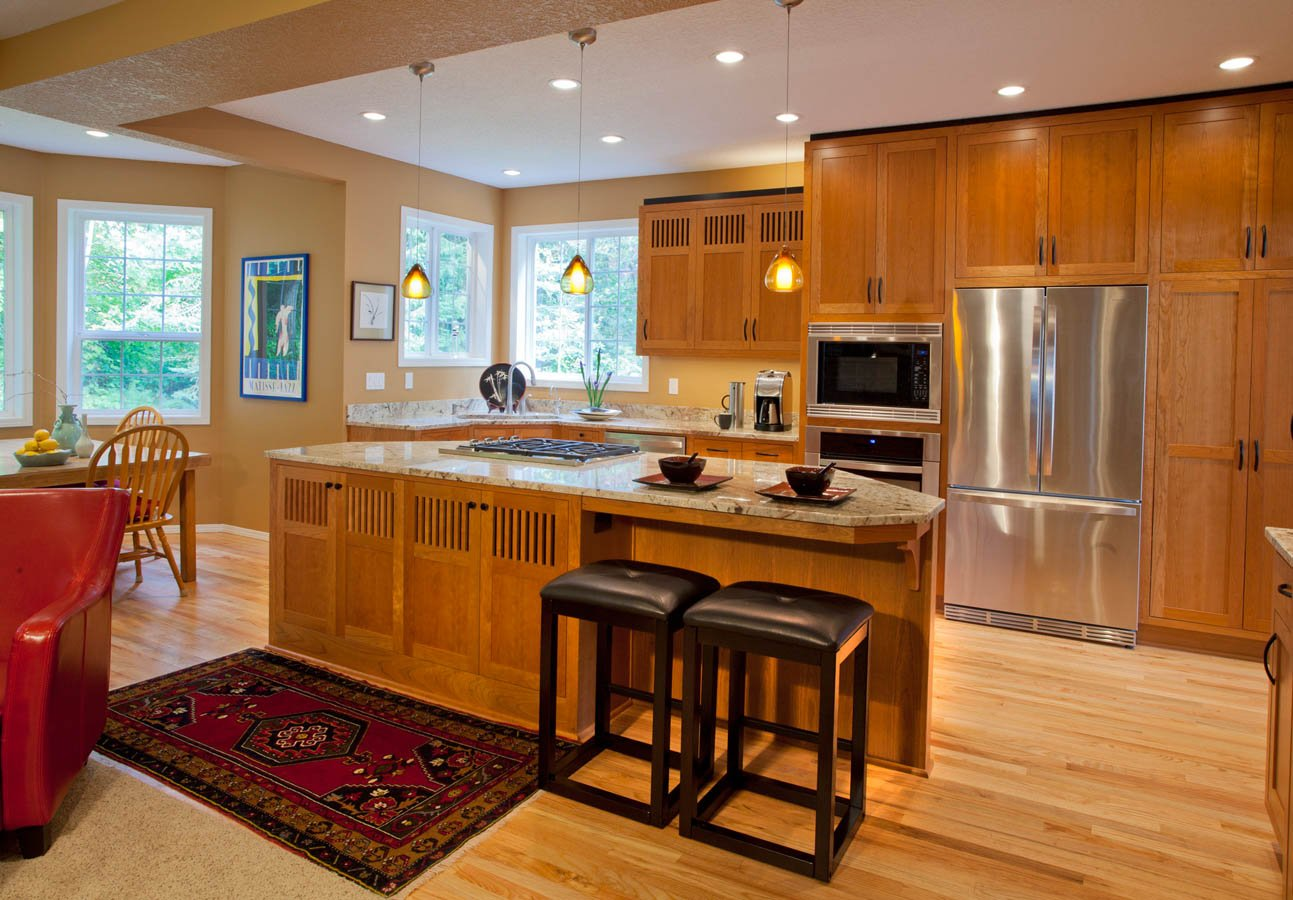 Modern-Transitional kitchen with oak cabinets