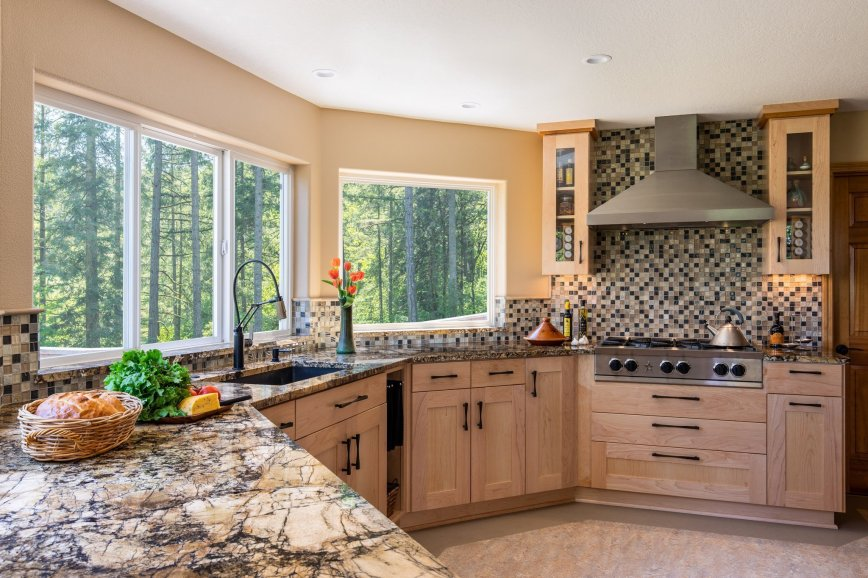 Kitchen remodel with Checkered Backsplash