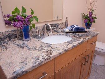 Portland marble countertop in bathroom