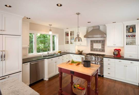 kitchen remodeled in a Shaker-style
