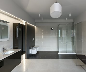 Proper fixures and hardware of modern luxury bathroom in minimalistic style