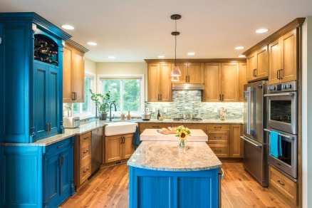 This transitional kitchen remodel features contemporary and modern details.