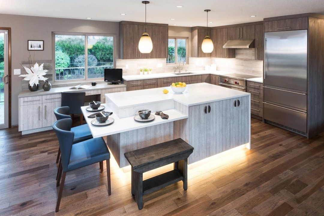 Modern Kitchen Remodel with White Island and backlighting