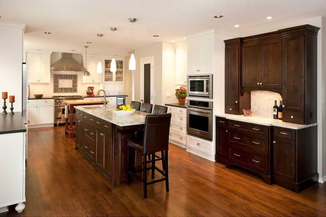 White Kitchen with Dark Brown Cabinets