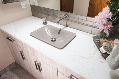 marble sink in bathroom remodel