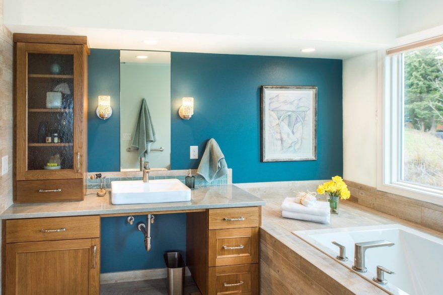 portland contemporary bathroom wheelchair access sink