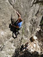 Petra enjoying technical slabs in Siurana