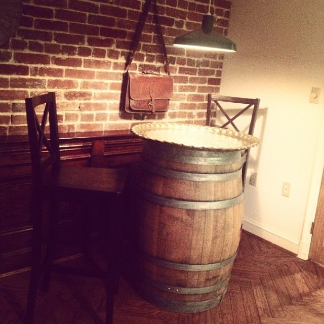 Im designing my friends home. I found the barrel in a winery and that silver plate from a thrift store.