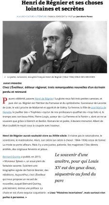 Lire: Henri de Régnier et ses choses lointaines et secrètes