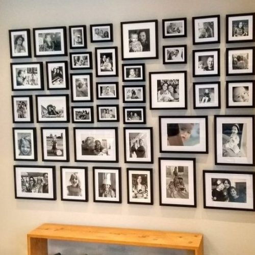 Large Family photo wall multi frame layout