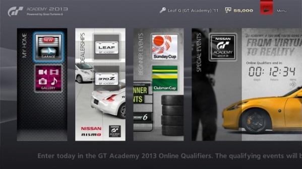 GT Academy Menu