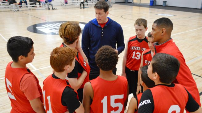 Coach Flitter Basketball Trainer works with his team