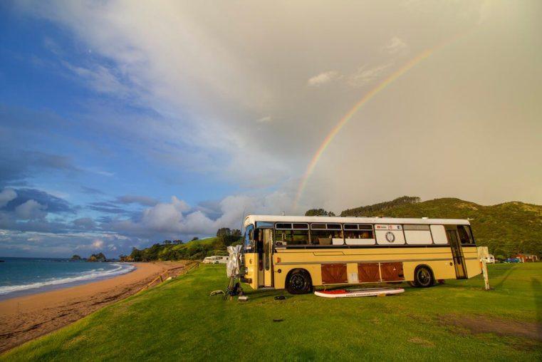 Downsizing Families - We live on a bus - rainbow Tauranga Bay. The Leveraged Mama.