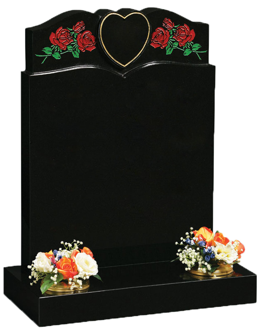 Black Granite with Red Roses