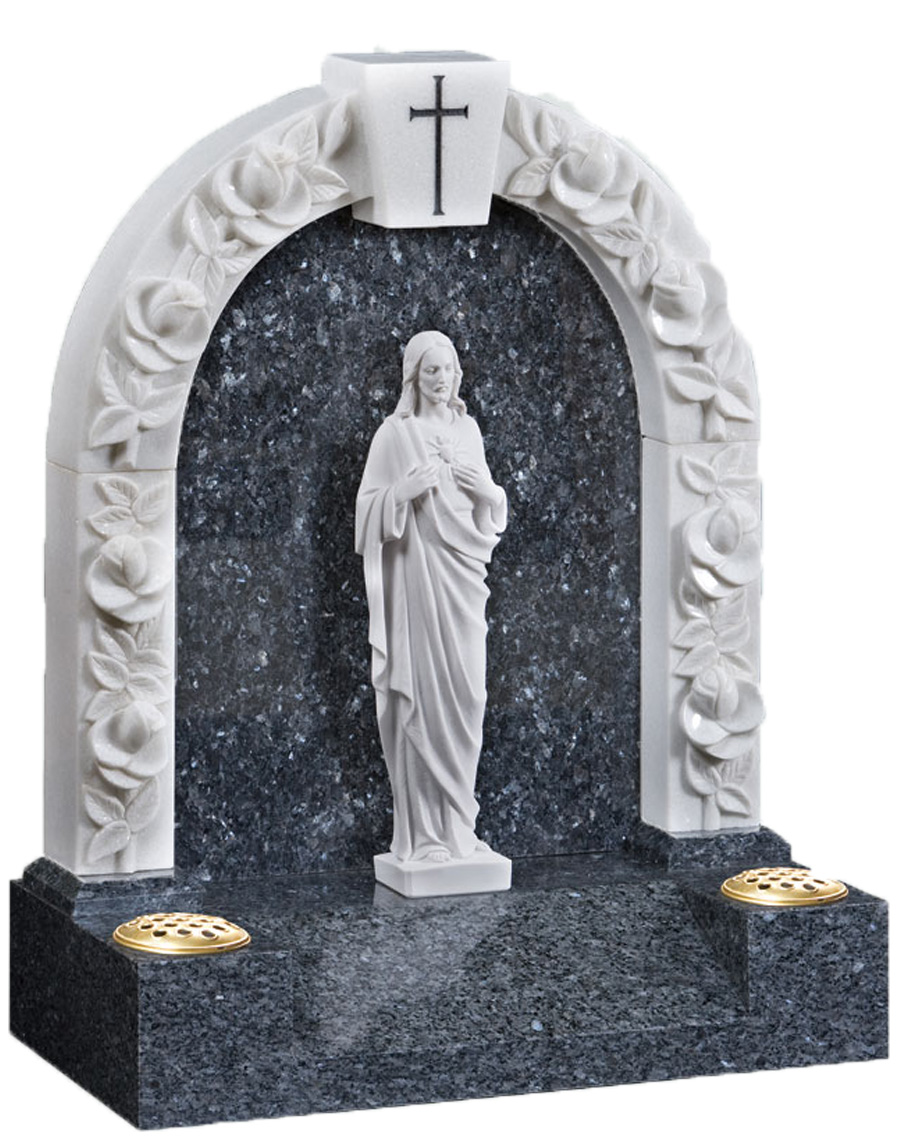 Marble Gates with Figure of Jesus Headstone