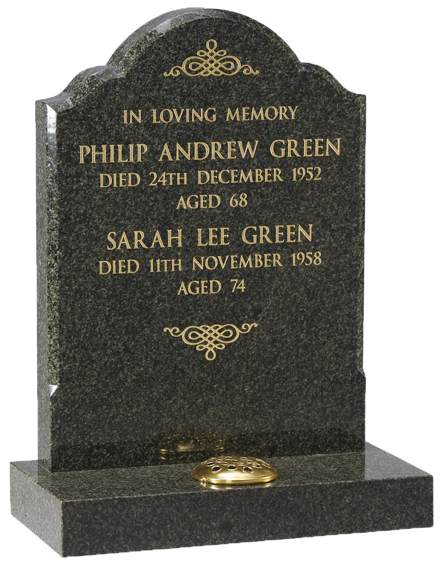 Ocean Green Granite Headstone