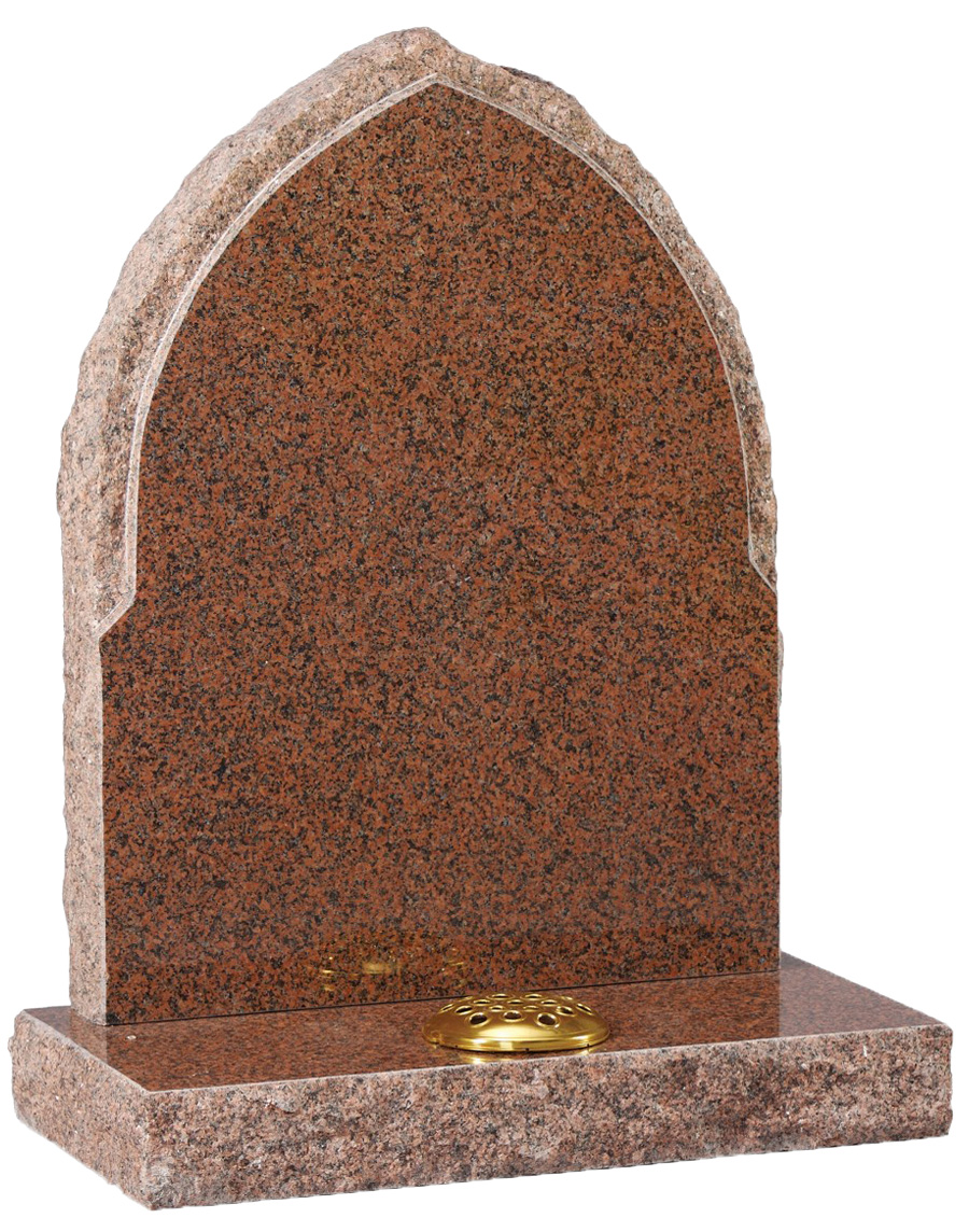 Red Granite Gothic Headstone with Natural Edges