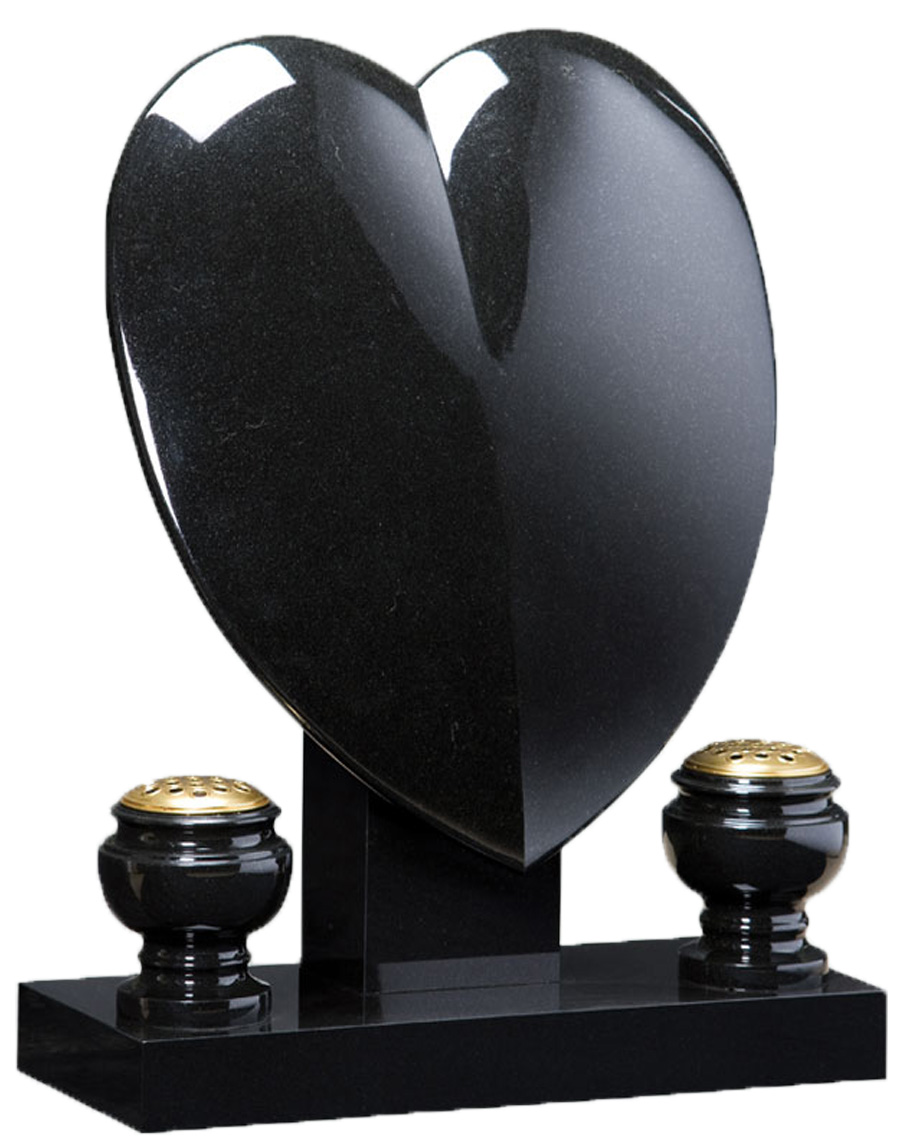 Granite Heart with Vases