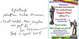 """Concursul Internaţional de Creaţie Literară """"Grigore Vieru - Sunt iarbă. Mai simplu nu pot fi!"""