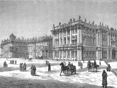 St Petersburg, Winter Palace, wood engraving c. 1880