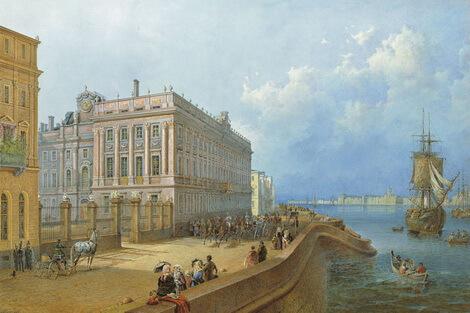 St. Petersburg Palatul Peterhof painting by Vasiliy Sadovnikov,1840