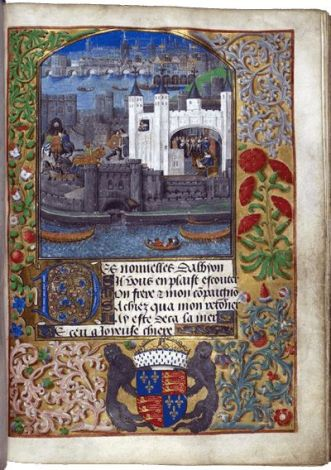 Duke Charles d'Orléans writing in the Tower, Bruges, c. 1483 (this image) with later additions, c. 1492 – c. 1500: Royal MS 16 F. ii, f. 73