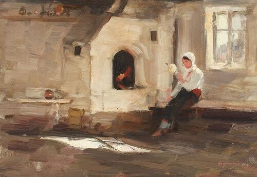 """Nicolae Grigorescu, """"Vatră la Rucăr"""", ulei pe placaj, 1902"""