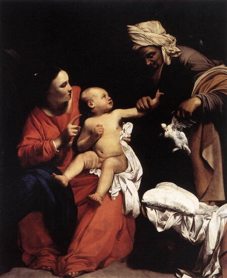 "Carlo Saraceni, ""Fecioara cu pruncul și Sf. Ana, 1610- Madonna and Child with St Anne. 1610. Oil on canvas. 180 x 155 cm. Galleria Nazionale d Arte Antica, Rome, Italy"