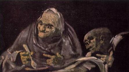 """Francisco de Goya, """"Două femei bătrâne mâncând din castron"""""""