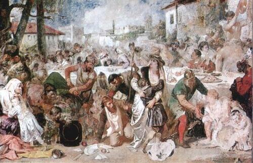 """Theodor Aman, """"Boierii surprinși la ospăț-de trimișii lui Vlad Țepeș"""", nedatat, Muzeul Național de Artă al României"""
