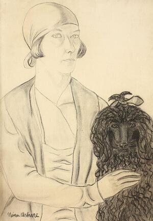 """""""Autoportret cu pudel"""", creion și cărbune pe carton"""