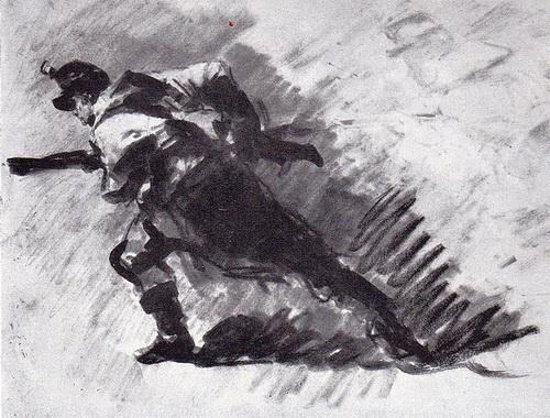 """""""Infanterist atacând"""", studiu pentru """"Atacul de la Smârdan"""", cărbune, estompă și laviu, Muzeul Național de Artă al României"""
