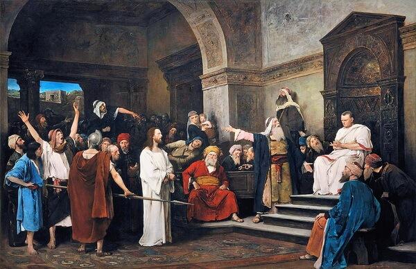 """Mihály Munkácsy, """"Iisus în fața lui Pilat"""", 1881"""