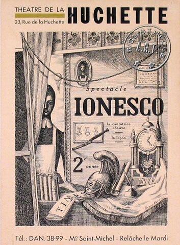 """Afisul premierei spectacolului """"Cântăreța cheală"""" de Eugène Ionesco, regia Nicolas Bataille, Théâtre de La Huchette. Paris, 1953. Sursa Association de la Régie Théâtrale"""