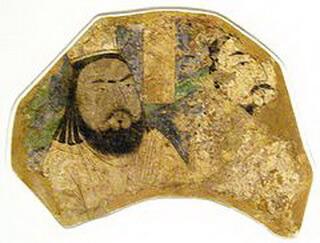 """""""Călugări mani"""", pictură pe perete, secolele X–XI, Museum für Indische Kunst, Berlin-Dahlem"""