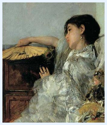 """Antonio Mancini (1852–1930), """"Cele două păpuși"""", 1876"""