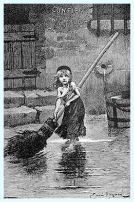 """Cosette, ilustraţie de Émile Bayard la ediţia princeps a romanului """"Mizerabilii"""" de Victor Hugo, 1862"""