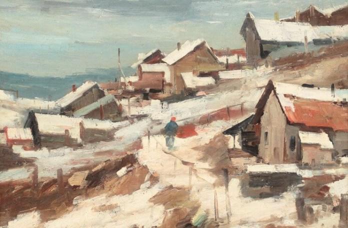 """Jean Cheller, """"Peisaj de iarnă în Dobogea"""""""