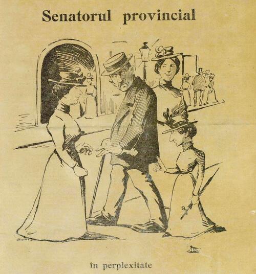 """Caricatură din """"Moftul român"""", seria a II-a, nr. 20, duminică, 12 august 1901, p 1"""