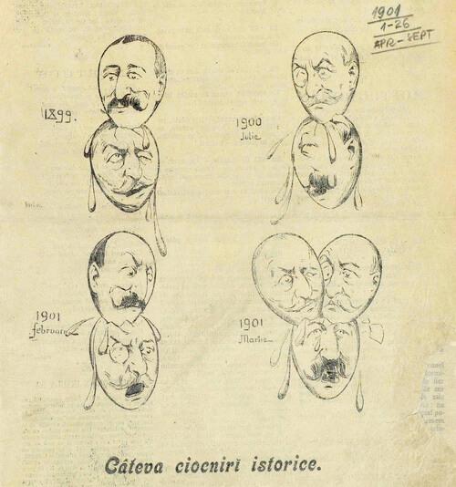 """Caricatură din """"Moftul român"""", seria a II-a, nr.1, duminică,1 aprilie 1901, p. 1"""