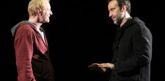 """Eugenia Sarvari Richard Bovnoczki și Șerban Pavlu în spectacolul """"The Sunset Limited"""", Unteatru din București"""